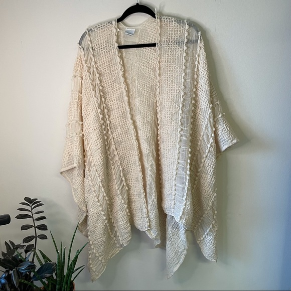 Sonoma White Knitted Textured Open Cardigan